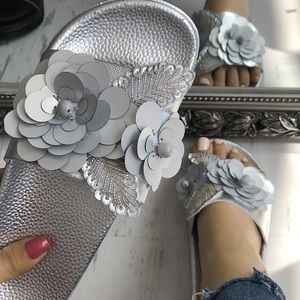 Silver Flower Embellished Slides